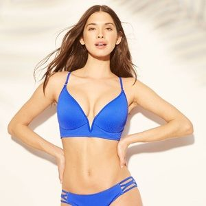 Shade & Shore cobalt blue wire ribbed bikini top